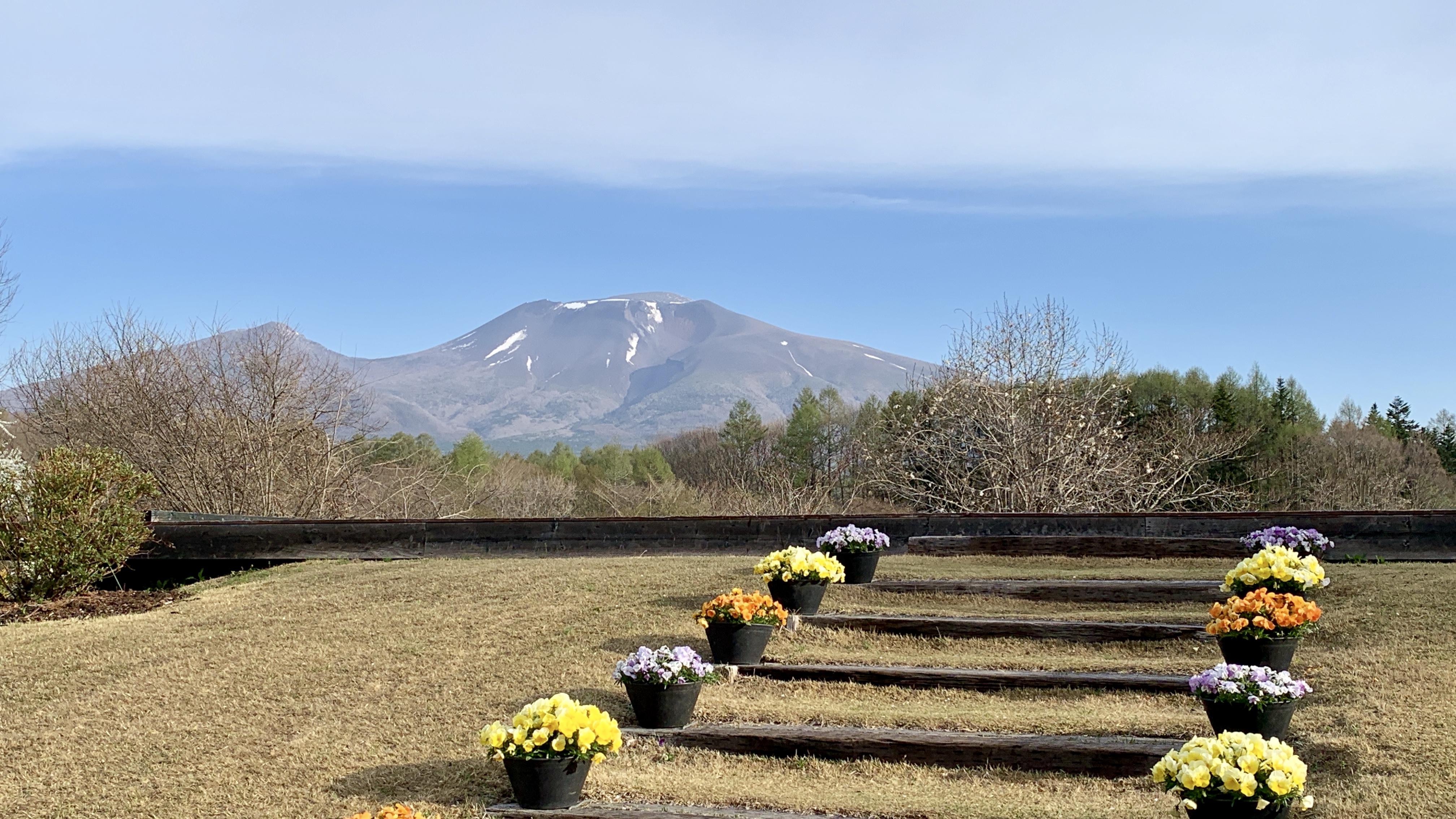 浅間山が正面に見えます