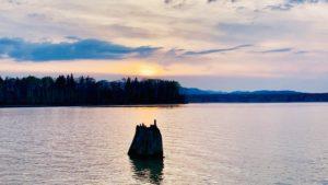 朱鞠内湖の夕焼け