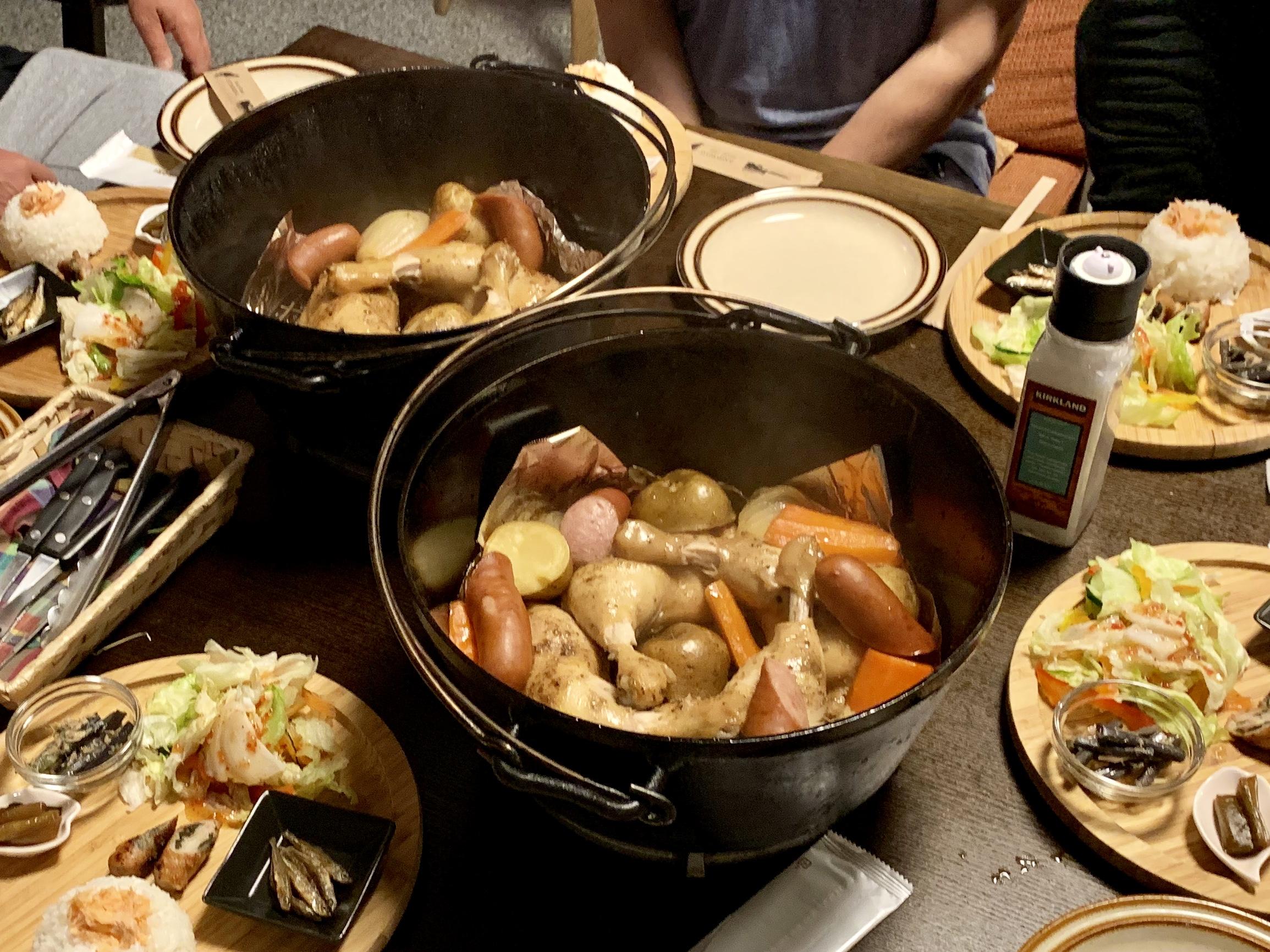 レークハウス朱鞠内のダッチオーブン料理