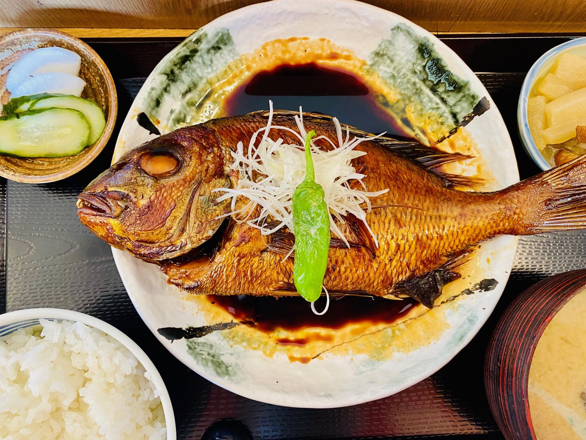 小田原漁港やまやの煮魚定食