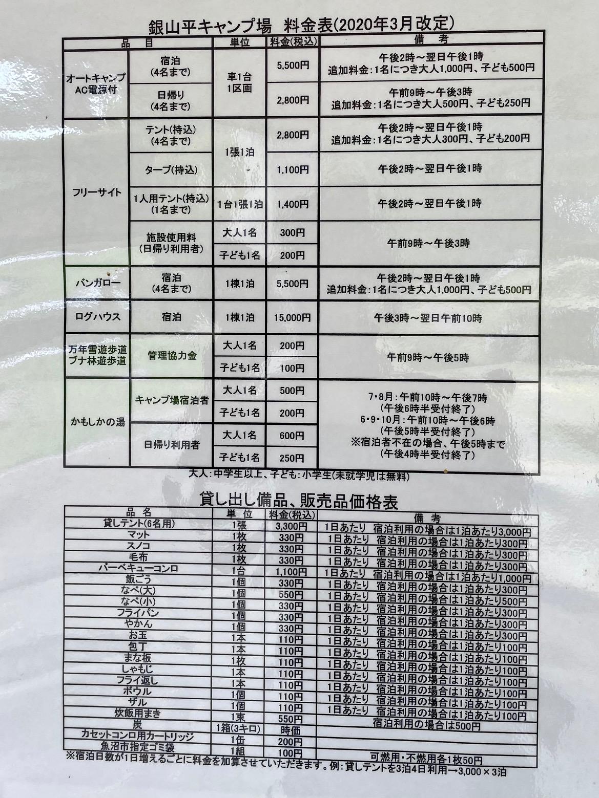 銀山平キャンプ場の利用料